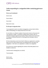 Letter responding to resignation letter containing grievance issues