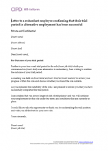 letter to a redundant employee confirming that their trial period in alternative employment has been successful