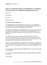 Letter to a redundant employee inviting them to a meeting to discuss the offer of an alternative employment position
