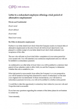Letter to a redundant employee offering a trial period of alternative employment