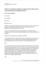 Letter to a redundant employee setting out the notice period as part of the post-consultation process