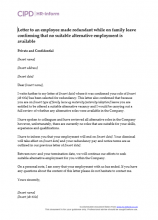 Letter to an employee made redundant while on family leave confirming that no suitable alternative employment is available