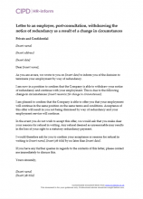 Letter to an employee, post-consultation, withdrawing the notice of redundancy as a result of a change in circumstances