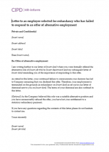 Letter to an employee selected for redundancy who has failed to respond to an offer of alternative employment