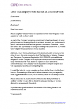 Letter to an employee who has had an accident at work