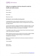 Letter to an employee who has refused to work or attend work for health and safety reasons