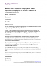 Letter to at risk employees notifying them that no compulsory redundancies are necessary as a result of voluntary redundancies