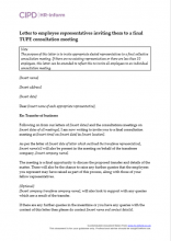 Letter to employee representatives inviting them to a final Tupe consultation meeting
