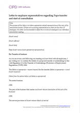 Letter to employee representatives regarding Tupe transfer and start of consultation