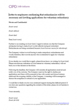 Letter to employees confirming that redundancies will be necessary and inviting applications for voluntary redundancy