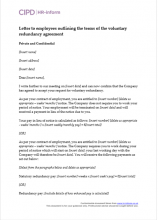 Letter to employees outlining the terms of the voluntary redundancy agreement