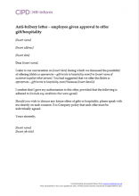 Letter to give approval to offer gift or hospitality