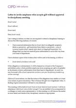 Letter to invite employee who accepts gift without approval to disciplinary meeting