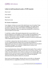 Letter to staff transferred under a Tupe transfer