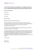 Letter to the claimant advising them of an application made for an Additional Information Order and Documents Order