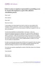 Letter to union or employee representatives permitting access to consult with employees as part of the collective consultation process