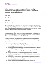 Letter to union or employee representatives starting consultation on the proposed redundancies as part of the collective consultation process