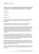 Letter to union or employee reps starting collective consultation on proposed change to terms and conditions
