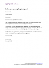Letter upon agreeing bargaining unit