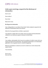 Letter upon receiving a request for the disclosure of information
