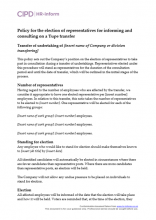 Policy for the election of representatives for informing and consulting on a Tupe transfer
