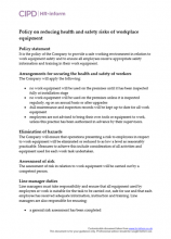 Policy on reducing health and safety risks of workplace equipment