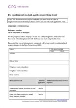 Pre-employment medical questionnaire long form