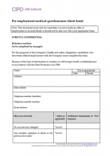 Pre-employment medical questionnaire short form