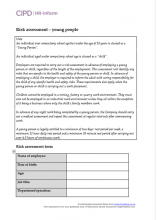 Risk assessment form - young people