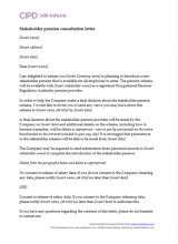 Stakeholder pension consultation letter