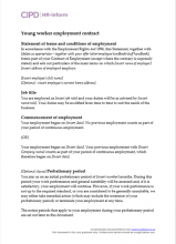 Young worker employment contract