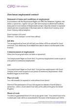 Zero hours employment contract