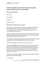Letter to confirm the outcome of a grievance appeal where the original decision is overturned