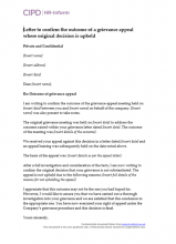 Letter to confirm the outcome of a grievance appeal where the original decision is upheld