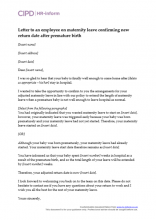 Letter to an employee on maternity leave confirming new return date after premature birth