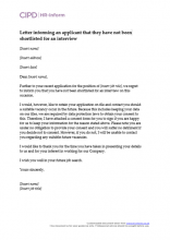 Letter informing an applicant that they have not been shortlisted for an interview (GDPR compliant)