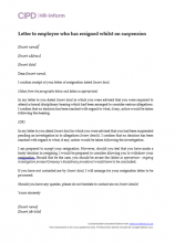 Letter to employee who has resigned whilst on suspension