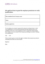 Job applicant form to grant the employer permission to verify qualifications