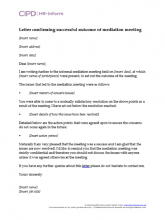Letter confirming successful outcome of mediation meeting