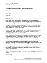 Letter inviting employee to mediation meeting
