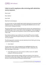 Letter to send to employees after reviewing staff satisfaction survey responses