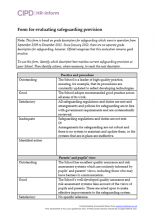 Form for evaluating educational safeguarding provision