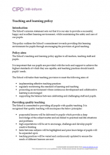 Educational teaching and learning policy