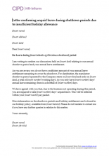 Letter confirming unpaid leave during shutdown periods due to insufficient holiday allowance