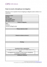 Form to record a disciplinary investigation