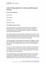 Letter inviting employee to a formal capability appeal meeting