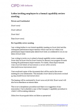 Letter inviting an employee to a formal capability review meeting