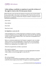 Letter asking a candidate or employee for evidence of right to work in the UK (document check)