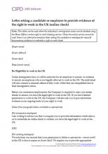 Letter asking a candidate or employee for information to check right to work in the UK (online check)