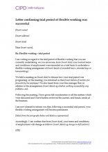 Letter confirming trial period of flexible working was successful